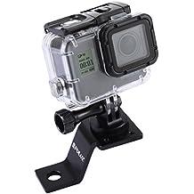 Puluz - Accesorios de moto espejo / perno, soporte fijo de metal de bicicleta para GoPro Hero 5 sesión 4, negro, plata 4 3 3 2, cámara de acción deportiva