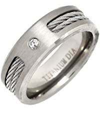 Theia Titanium Flat Court 0.05ct Diamond Matt and Ropes 7 mm Ring