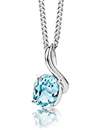 ByJoy Necklace for Women Sterling Silver pendant Sky Blue Topaz 45 cm chain 925 Silver