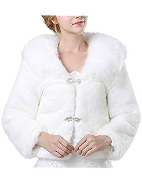 Icegrey Mujer Chaqueta De Piel Sintética Para Novia Tipo Bolero Con Manga Larga Chal Estola Capa Con Forro Ivory