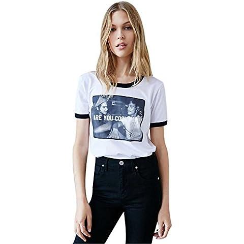 Stile di personalità Are You Cool Man T-shirt Tee Maglietta Top Cima Con Graphic Grafica Scritta Motivo Logo Slogan Stampa Bianco