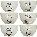 esto24 6er Set Müslischalen Dessertschale 500ml Keramik mit lustigen Gesichtern - Das Highlight auf jedem Tisch