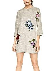 TT Las mujeres 'S estilo suéter de cuello redondo vestido bordado Deportes Sección vestido , grey , l