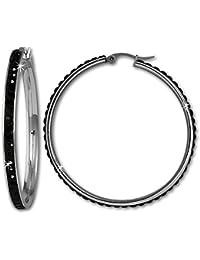 Amello Creole 50mm Edelstahl Swarovski Elements schwarz Ohrring Edelstahlschmuck Stainless Steel ESOS05S