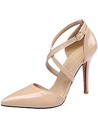 UH Damen Spitze High Heels Lack Pumps mit Riemchen und Stiletto 10cm Absatz  Elegant Party Kleidschuhe 0c17956406