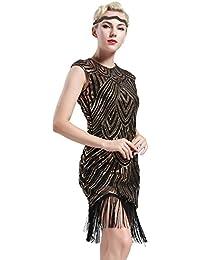 aaa96d2f559f BABEYOND Damen Kleid Retro 1920s Stil Flapper Kleider voller Pailletten  Runder Ausschnitt Great Gatsby Motto Party