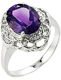 Little Treasures - 10ct Gold Ring with Amethyst and Diamond