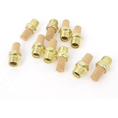 Sourcingmap-1/8PT maschio Filettatura ottone aria Silenziatore di scarico oro Tone 10pezzi