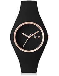 ICE-Watch - 001616 Glam - Black rose - gold - Unisex - Montre femme Quartz Analogique - Cadran Noir - Bracelet Silicone Noir -