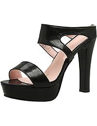 TAOFFEN Mujer Tacon Alto Mulas Sandalias Moda Tacon Ancho Plataforma Sin Cordones Verano Zapatos
