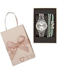 """SIX """"Geschenk"""" Set aus silberner Damen Uhr Gliederarmband Chronograph mintgrüne Armbänder mit LOVE Zeichen in hochwertiger Geschenkbox (388-276)"""