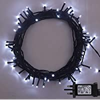 ANSIO Christmas Fairy Lights 300 LED Bright White Tree Lights 30m/98ft Lit Length with 5m/16ft Lead Wire GREEN CABLE