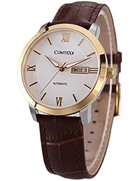 Comtex Herren-Armbanduhr Automatik Uhr mit Brauns Leder