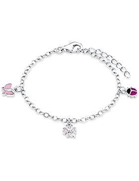 Prinzessin Lillifee Kinder-Armband 925 Silber rhodiniert Emaille Zirkonia rosa 14 cm - 523035