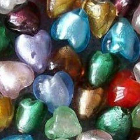 20 pezzi, colore: argento con perline in vetro a lume a forma di cuore, in alluminio, 20 mm, colori misti, A4005