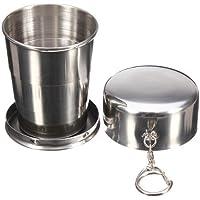 dasuke cristal plegable vaso plegable taza retráctil deporte senderismo Camping 240ml Keychain