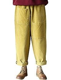 Youlee Femmes Poches Avant Taille Elastique Coton Pantalon en Velours côtelé a4cb981772c