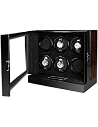AUBLAN Wooden Automatic 6 Watch Winder Box with LCD Touch Screen for 6 Watches