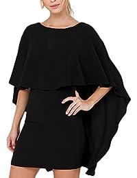 Frauen Kleid Minikleid Elegant Kurz Caped Rundkragen Rückenfrei 3 4 Hülsen  Eng Slim Fit Normallacks Stretch… 8a15c85ba1