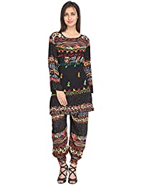 SGF Women Chiffon Casual Round Neck Printed Black Salwar Suit - B078JT3Q24