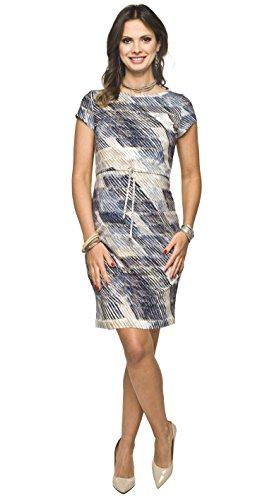 *2in1 elegantes und bequemes Umstandskleid / Stillkleid, Modell: MINO kurzarm, blau-beige, M*