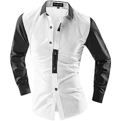 YUYU Uniformi classico Slim manica lunga da uomo Camicie , l , white