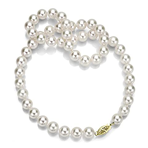 Or jaune 14K 6,5–7mm AAA Cueilli Blanc Akoya Collier de perles de culture, 40,6cm