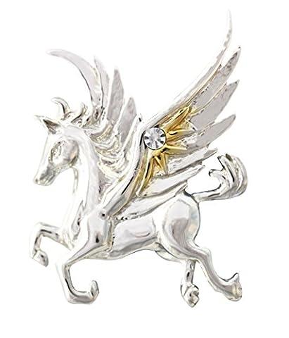 Pegasus von the Stars für Schnelle Thought & Kreativität - Fantasie Anhänger Halskette in Sterling Silber mit kristall und Gold Verzierungen - aus Anne Stokes Mythisch Gefährten kollektion