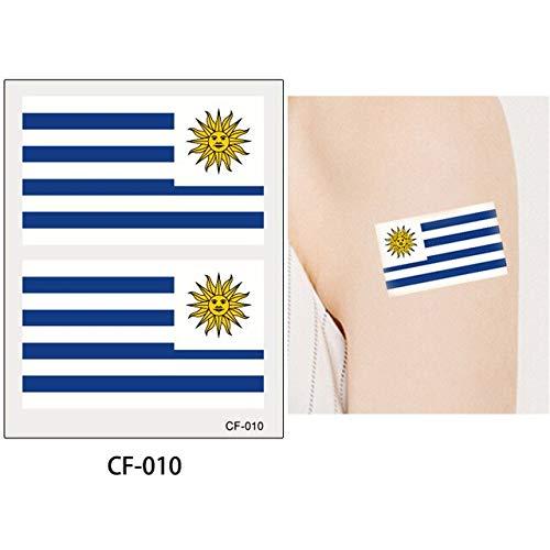 lagge Tattoo Aufkleber Temporäre Brasilien Russische Flagge Fußball Spiel Körper Gesicht Hand Tattoo CF-010 Uruguay ()