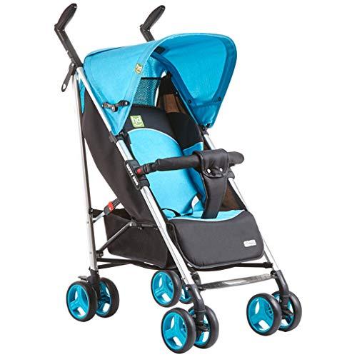 FXZ Cochecitos para niños Ligeros Bebé Puede Sentarse Choque reclinables Marco de Aluminio Plegable cómodo para niños DE 0-3 años (Color : Azul)