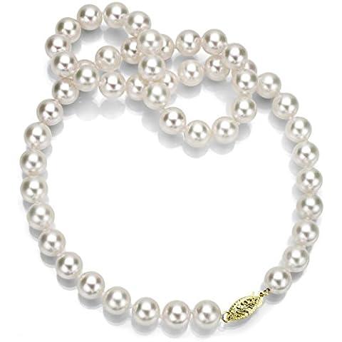 14K Amarillo Oro 7–7.5mm AAA Handpicked japonés blanco Akoya Collar de perlas cultivadas, 20
