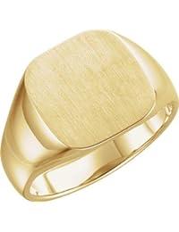 0b83ef750d7b Anillo de oro amarillo de 14 quilates para hombre con sello superior con  acabado cepillado