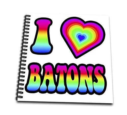 3dRose DB 217355_ 3Groovy Hippie Rainbow I Heart Love Taktstöcke Mini Notizblock, 4von 10,2cm