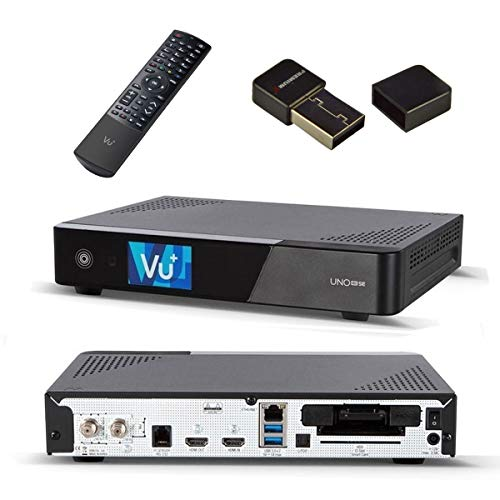 VU+ UNO 4K SE Digital Sat Receiver DVB-S2 Linux Set-Top-Box UHD 2160P mit PremiumX Mini WiFi WLAN Wireless Stick Adapter Dongle USB 2.0 bis zu 150Mbit
