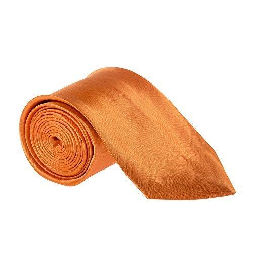3 Large Pouce Classique Uni Satin Homme / Garçon Mariage or Travail Cravate (Diverses Couleurs) Orange