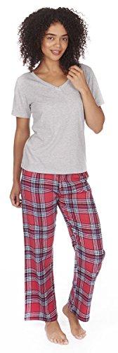 Flanell Damen Hose (Forever Dreaming Pyjama-Set - Jersey-Top & Flanell-Hose  Gr. X-Large, grau)