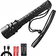 Scuba Diving Torch, Underwater Flashlight Diving T6 LED Flashlight IPX68 Waterproof USB Rechargeable 3 Modes F