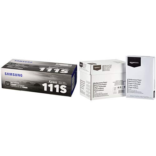 Samsung MLT-D111S Schwarz Original Toner und Bildtrommel & AmazonBasics - Druckerpapier, 5x500 Blatt
