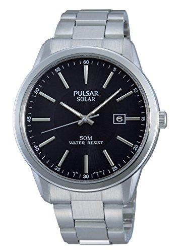 Pulsar Unisex Analogue Watch with Black Dial Analogue Display and Stainless steel plated gun metal - PX3023X1