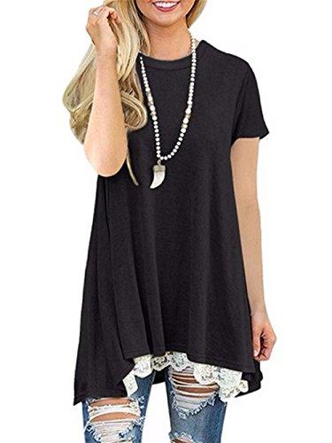 Damen Kurzarm T-Shirt,Plot Frauen Spitze Nähen Lose Lange Hemd Unregelmäßig Saum Pullover Bluse Mode Top (L, Schwarz) (Tunika Saum Flare)