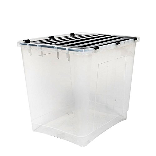 esto24 Aufbewahrungsbox mit Deckel Größe: 100 Liter Ideal für Büro, Kinderzimmer, Küche & Werkstatt -