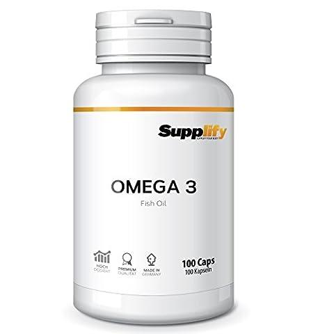 Supplify Omega 3 1000mg Fischöl + 5mg Vitamin E – Hochdosierte 300mg Öl Softgel-Caps Mit Essentiellen Fettsäuren – 100 Kapseln 180mg EPA + 120mg DHA Für Herz & Hirn – Hergestellt In Deutschland