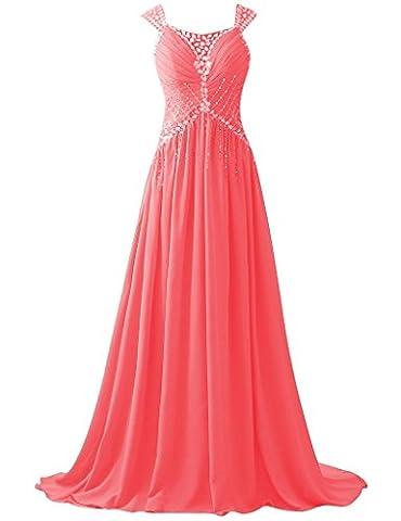 HUINI Perlen Sequins Straps Lange Chiffon Prom Abendkleider Party Formal Gowns Size 52