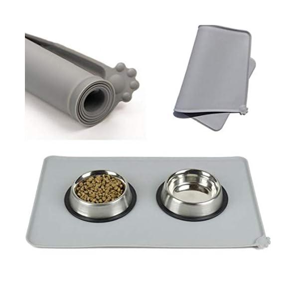 AYRSJCL 1Pc Gris Impermeable Estera del Animal doméstico del Gato del Perro del cojín de Silicona para el Perro Pet Food… 1