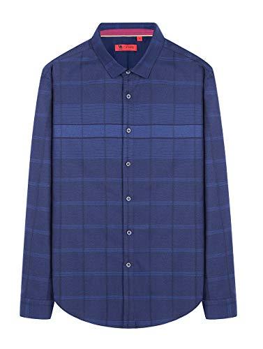 CAMEL Herren Langarm Plaid Down Button Casual Shirts (Blau, CN 44=X-Large(EU))