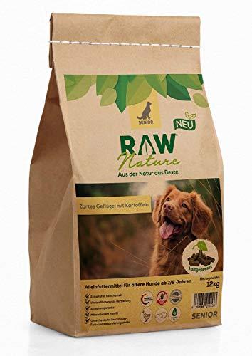 RAW Nature Trockenfutter Senior - Natürlich Kaltgepresst - Getreidefreies Hundefutter - für ältere Hunde ab 7/8 Jahren (12 kg)