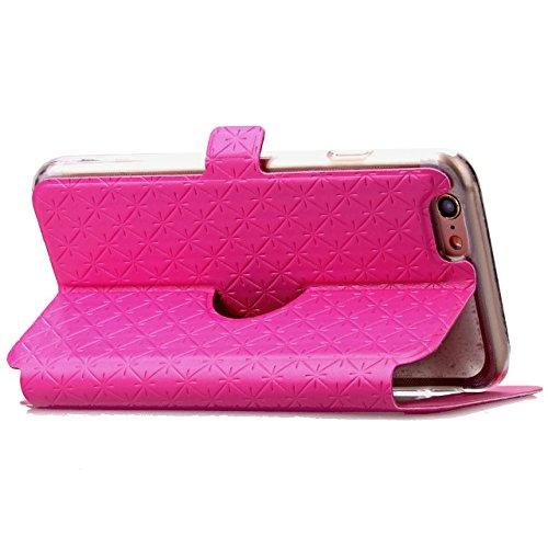 iPhone Case Cover Carré de diamant motif en treillis cuir PU boîte de vitrine souple TPU cas de support de couverture avec slot pour carte IPhone 6 6s plus ( Color : White , Size : IPhone 6s Plus ) Rose Red