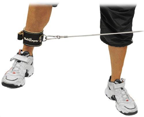 Deluxe Leder Fußschlaufe schwarz (Stück) verstellbare Fußschlaufe inkl. Ringöse BC-27 (Kabel-fitness-studio)
