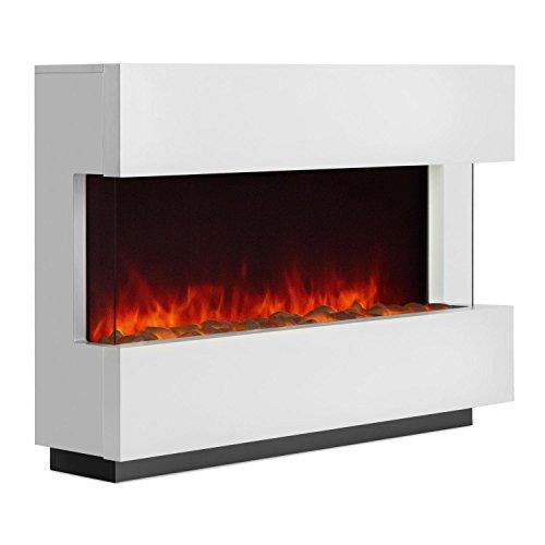 Klarstein Studio-1 • elektrischer Kamin • E-Kamin • Kaminofen • LED-Flammensimulation • große Front • MDF-Holz • 750 und 1500 W Leistung • Heizlüfter für 40 m² • Fernbedienung • Flammeneffekt steuerbar • Glasseitenteile und Kohlebett • weiß
