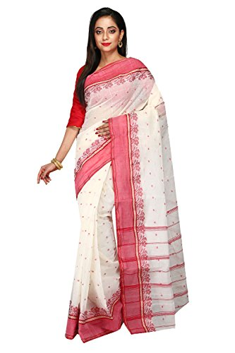 Madhushree Textile Women's Cotton Saree (Mt056_White)